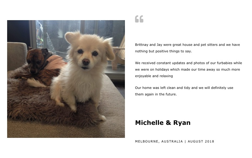 House Sitting Melbourne Reference from Michelle & Ryan